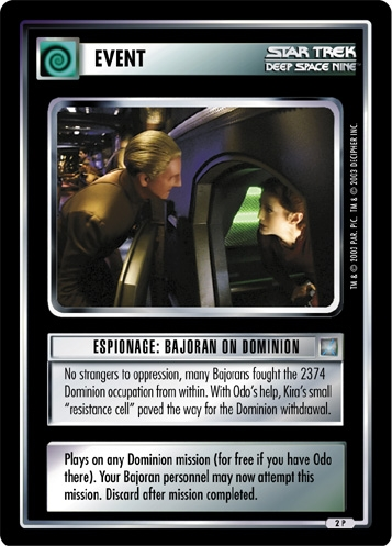 Espionage: Bajoran on Dominion
