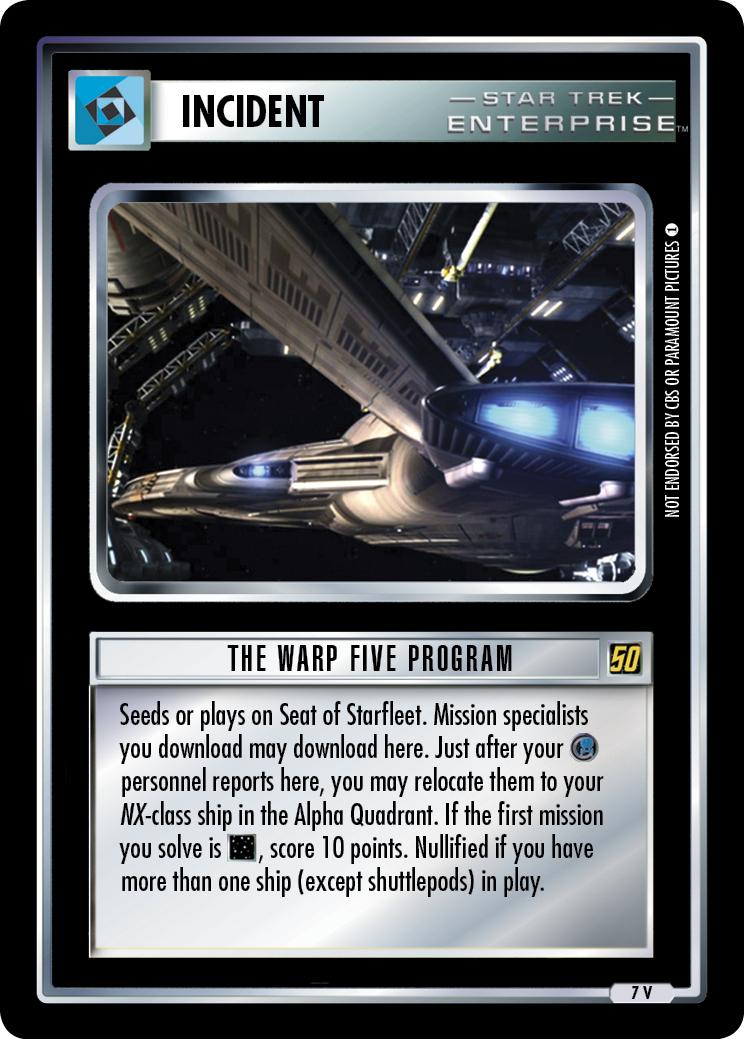 The Warp Five Program